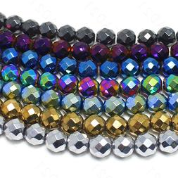 "Faceted Hematite Metallic Beads Round Loose 8mm 15.5"" Strand"
