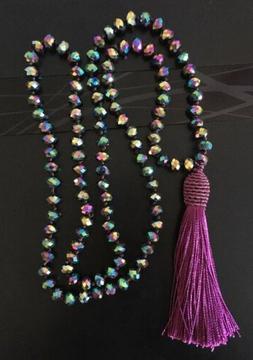 Fashion BohemianTribal Long Tassel Glass Crystal beads Neckl
