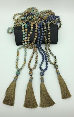 Fashion gemstone long knot Amazonite beads Necklace stone ta
