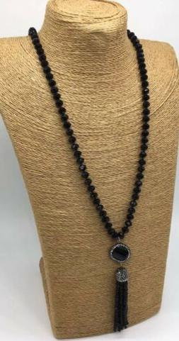 Fashion long knotted Crystal Beads Crystal Tassel Necklace W