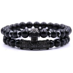 Fashion Men Bracelet 8mm Black Hematite Beads CZ Skull Charm