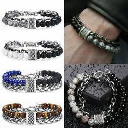 Fashion Men Natural Stone Tiger Eye Beads Bracelets Stainles