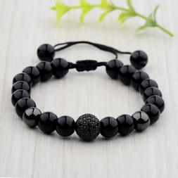 Fashion Men's Bright Zircon Micro Pave Black Natural Stone R