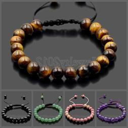 Fashion Men Women 8mm Natural Gemstones Bead Adjustables Han