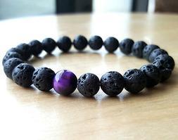 Fashion Lava Tigers Eye Mala Beads Energy Yoga Beaded Men's