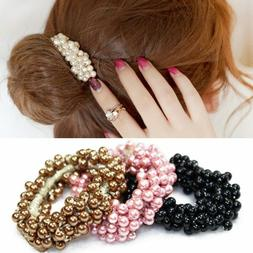 Fashion Women Lady Pearls Beads Hair Band Rope Scrunchie Pon