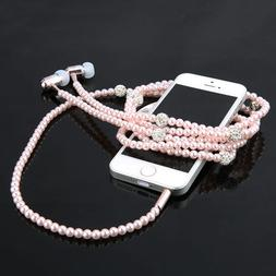 Fashionable Jewelry pearl Necklace Earphones Mic Beads 3.5mm