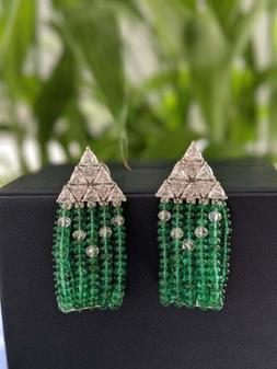 Features 298 Zambian Emerald Beads and 5.98 Carat Stunning T