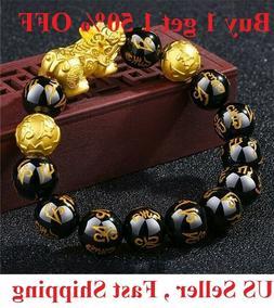 Feng Shui Black Obsidian Beads Bracelet Attract Wealth & Goo