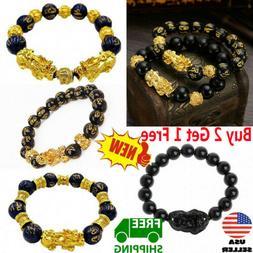 Feng Shui Black Obsidian Pi Xiu Wealth Bracelet Attract Weal