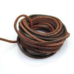 LolliBeads  3mm Flat Genuine Leather Strip Cord Braiding Str