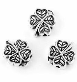 Four Leaf Clover Irish Silver Spacer Bead Bali Jewelry Makin