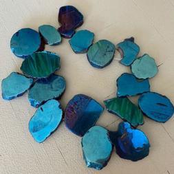 Full Strand Iridescent Blue Titanium Coated Slab Beads Jewel