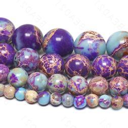 Galaxy Sea Sediment Jasper Beads Purple Imperial Gemstone 4m