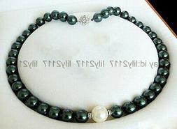 Genuine 8mm black & 10mm white round shell pearl beads neckl