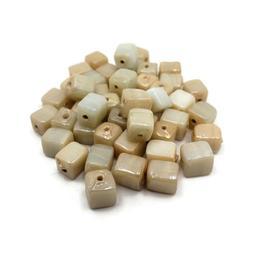 Glass Beads Cube 25pc High Quality Jewelry Making Beads Irid