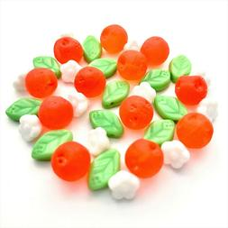 Czech glass orange fruit beads with flowers & leaves mix for