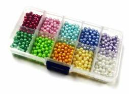 Bead Craft Kits Pearl Glass Beads for Bracelet Making Round