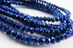 Glass Rondelle Faceted Metallic Blue loose beads spacer AAA