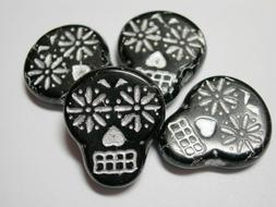 Czech glass Sugar Skull Beads - Black with Silver - 4 beads