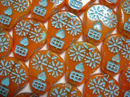 Czech glass Sugar Skull Beads - Orange and Turquoise - 4 bea