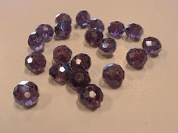 Glass Suncatcher Pearl Luster Plated Beads, Faceted, DarkGra