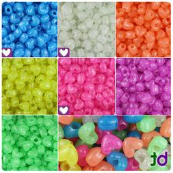 BeadTin Glow 12mm Heart Pony Beads Vertical Holes  - Color c