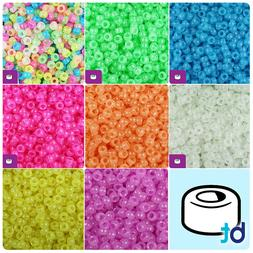 BeadTin Glow 6.5mm Mini Barrel Pony Beads  - Color choice
