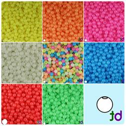 BeadTin Glow 6mm Round Plastic Craft Beads  - Color choice