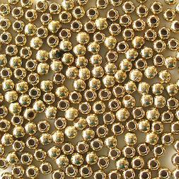 Gold 3mm Pearl Style Acrylic/Faux/Plastic Round Spacer Beads
