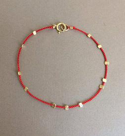 Gold Bead Silk String Bracelet also in Sterling Silver and R