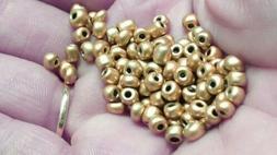 GOLD colored 4mm Seed Beads 100pcs glass Beading Jewelry Mak