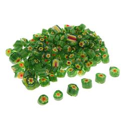 Green Color Millefiori Glass Beads for Adult Design Jewelry
