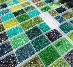 GREEN CZECH GLASS BEADS LOT BIGGEST Assortment  2 to 4 mm, 1