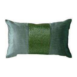 "Green Metallic Beaded 12""x14"" Silk Lumbar Oblong Pillow Cove"