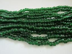 Green Translucent Glass Crow Pony Beads Jewelry Craft Bead 1