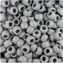 BeadTin Grey Opaque 9mm Barrel Pony Beads