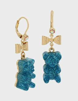 BETSEY JOHNSON GUMMY BEAR BOW DANGLE EARRINGS BLUE