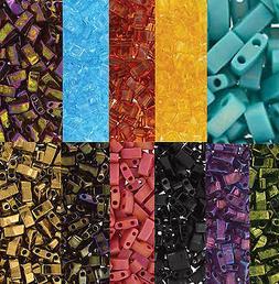 Miyuki Half Tila 2 Hole Rectangle Glass Seed Beads 5x2.3mm 7