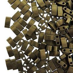Miyuki Half Tila Beads 2-Hole Rectangle  2.3 x 5mm 7.8GM Mat