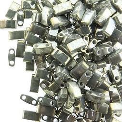 Miyuki Half Tila Beads 2-Hole Rectangle  2.3 x 5mm 7.8GM Gal