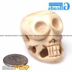 Halloween Carved Bone Skull Jewelry Making & Decoration Larg