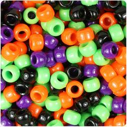 BeadTin Halloween Mix Opaque 9mm Barrel Pony Beads