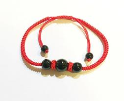 Hand Braided Red String Wrist Bracelet Crafted with Black an