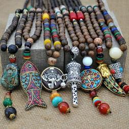 Handmade Nepal Buddhist Mala Bead Pendant Necklace Ethnic Ho