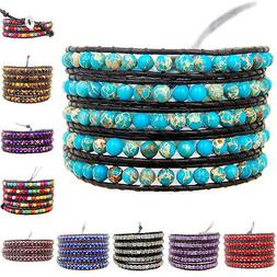 Hot Colorful Hand Made Mixed Crystal and Gemstones Beads Wra