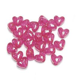 hot pink sparkle heart shaped pony beads