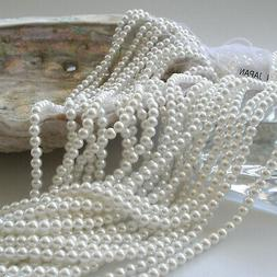 Japanese White Round Faux/Acrylic/Plastic Pearls Beads Stran