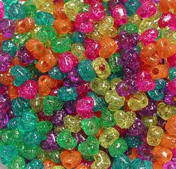Jelly Mix Sparkle 12mm Heart Pony Beads Made in the USA 100p