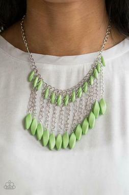 Paparazzi jewelry faceted green beads silver chain Necklace